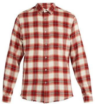 Frame Frayed Hem Checked Cotton Shirt - Mens - Red Multi