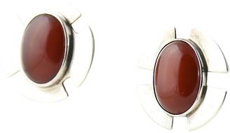 One Kings Lane Vintage 1970s Savitt Silver & Carnelian Earrings - Owl's Roost Antiques