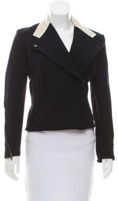 Helmut Lang Leather Accented Long Sleeve Jacket