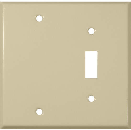 Morris Products Two Gang / Toggle and Blank Metal Wall Plates in Ivory