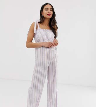 06c83e60fc5b0 Wild Honey Maternity jumpsuit with shirred bodice in stripe