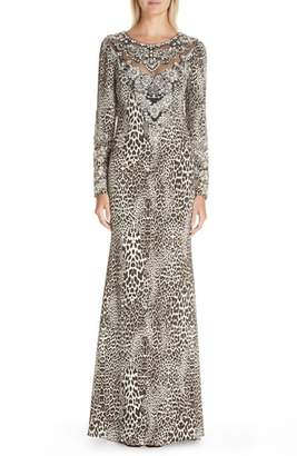 Badgley Mischka Couture Leopard Print Beaded Gown