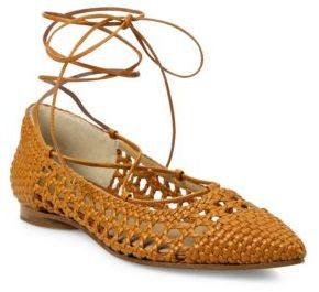 Michael Kors Collection Kallie Woven Leather Lace-Up Flats