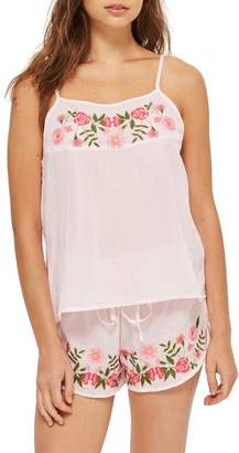 Topshop Embroidered Gingham Short Pajamas