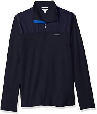 Calvin Klein Men's Long Sleeve 1/4 Zip Mix Media Pullover