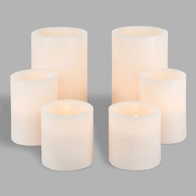 Flameless LED Pillar Candles Set of 6