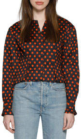 Eliana Polka-Dot Button-Down Fitted Top
