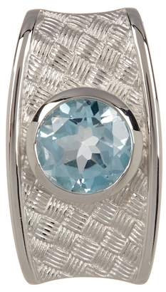 Breuning Sterling Silver Blue Topaz Etched Pendant