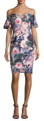 Badgley Mischka Off-The-Shoulder Floral Shift Dress