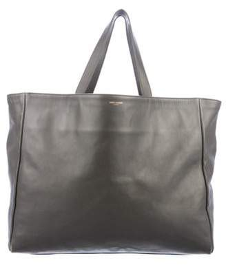 Saint Laurent Smooth Leather Tote Grey Smooth Leather Tote