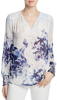 Calvin Klein Long-Sleeve Printed Peasant Top $79.50 thestylecure.com