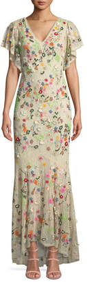 Alice + Olivia Lavada Low-Back Floral-Embroidered Mermaid Gown