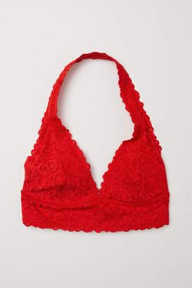 H&M Lace Halterneck Bralette - Bright red - Women
