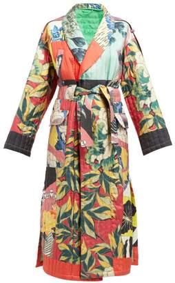 Etro Floral Print Quilted Silk Twill Kimono Coat - Womens - Blue Multi
