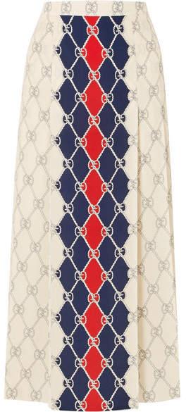 Gucci - Pleated Printed Washed-silk Midi Skirt - Ivory