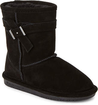 BearPaw Kids Girls) Black Val Real Fur Boots