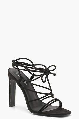 boohoo NEW Womens Strappy Wrap Heel Sandals in