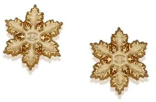 Chanel Vintage Snow Push Back Earrings