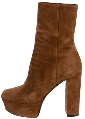 Gucci Suede Square-Toe Platform Boots