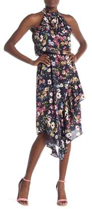 Parker Floral High Neck Asymmetrical Dress