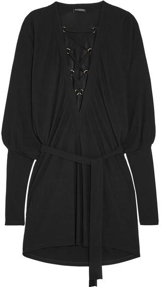 BalmainBalmain - Lace-up Crepe Mini Dress - Black