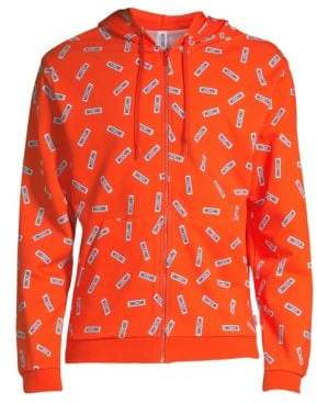 Moschino Men's Allover Tag Cotton Hoodie - Orange Multi - Size XS