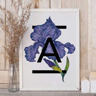 The Print Florist Personalised Alphabet Initial Iris Flower Print