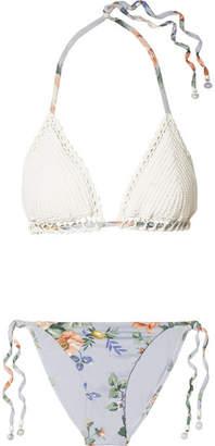 Zimmermann Bowie Crochet And Floral-print Triangle Bikini - White
