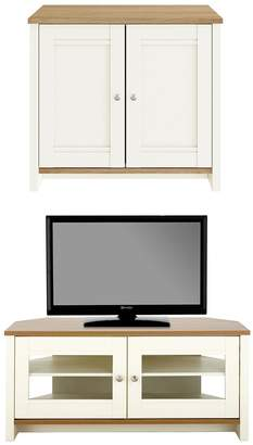 Consort Furniture Limited Tivoli New 2 Piece Package - Ready Assembled 2 Door Sideboard and Corner TV Unit - Cream/Oak Effect