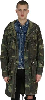 Studded Hooded Camouflage Cotton Parka
