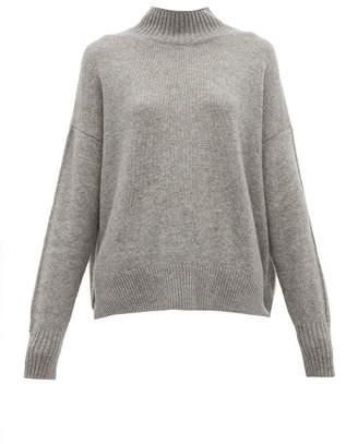 Allude Funnel Neck Cashmere Sweater - Womens - Dark Grey
