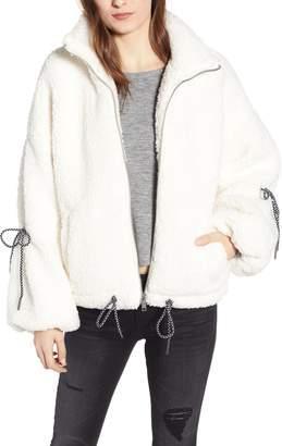 Noisy May Tie Sleeve Fleece Jacket