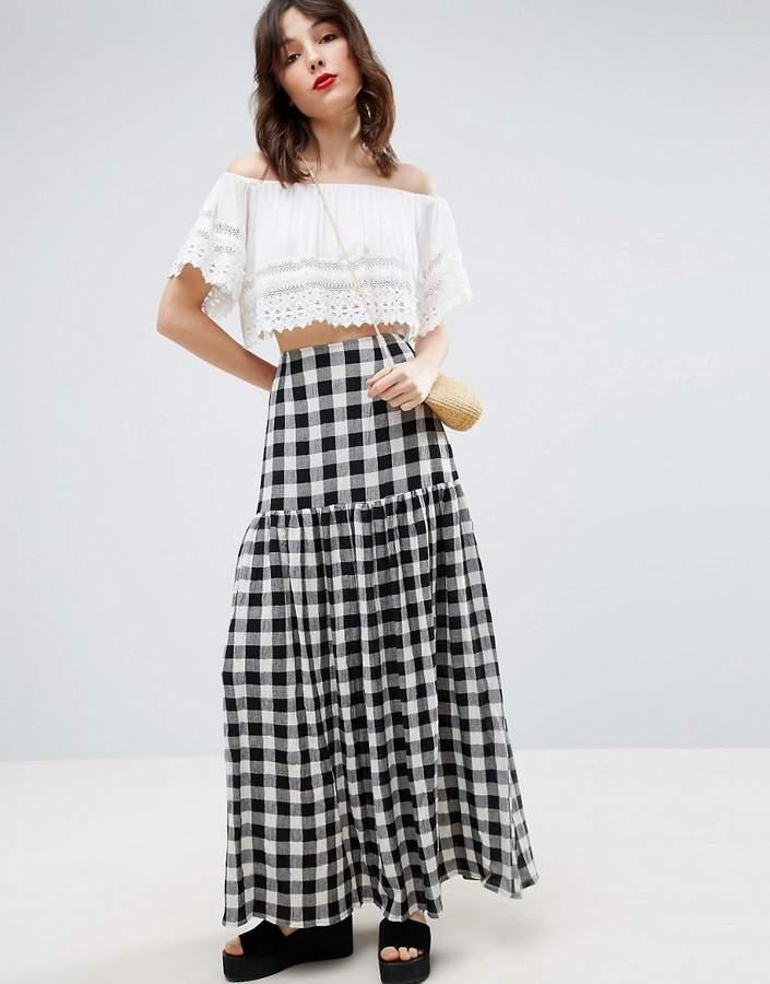 AsosASOS High Waisted Maxi Skirt in Gingham