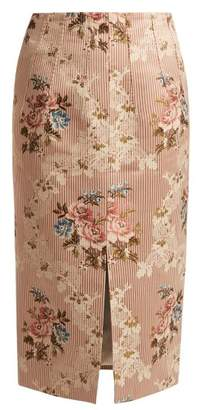 Brock Collection Sorrel Floral Jacquard Pencil Skirt - Womens - Pink Multi