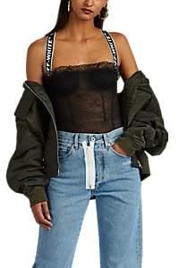 Off-White Women's Logo-Strap Floral Lace Balconette Bodysuit - Black