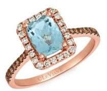 LeVian 14K Strawberry Gold & Sea Blue Aquamarine Ring