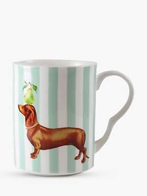 Yvonne Ellen Sausage Dog Mug, 360ml, Green/Multi