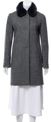 Amina Rubinacci Fur-Trimmed Virgin Wool Coat