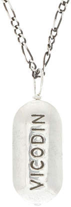 Cast of Vices Sterling Silver Vicodin Pill Pendant Necklace