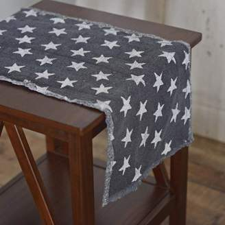 Americana Ashton & Willow Navy Blue Tabletop Kitchen Multi Star Cotton Stenciled Casement Star Rectangle 13x36 Runner