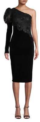 Nicole Bakti Embellished One-Shoulder Sheath Dress