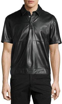 McQ Alexander McQueen Hero 02 Lamb Leather Short-Sleeve Shirt, Darkest Black $735 thestylecure.com