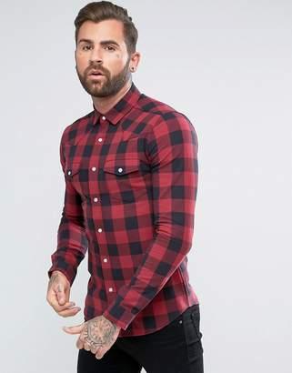 Asos Design Skinny Buffalo Western Check Shirt In Red