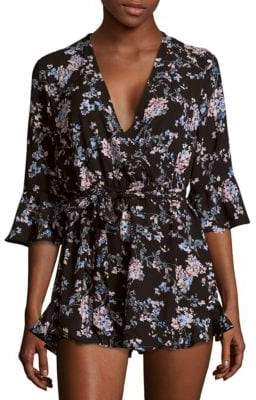 Saks Fifth Avenue RED Floral-Print Tie-Front Jumpsuit