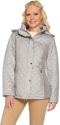 Liz Claiborne New York Quilted Snap Front Jacket w/ Hood