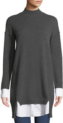 Neiman Marcus Cashmere Twofer Sweaterdress, Gray