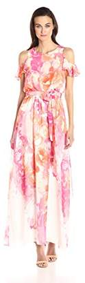 Vince Camuto Women's Floral Printed Chiffon Maxi