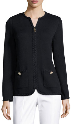 St. John Braided-Trim Zip-Front Jacket, Black $1,039 thestylecure.com