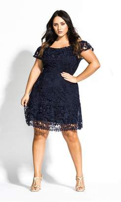 City Chic Citychic Dream Of Lace Dress - navy