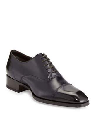 Tom Ford Gianni Cap-Toe Leather Shoe, Blue